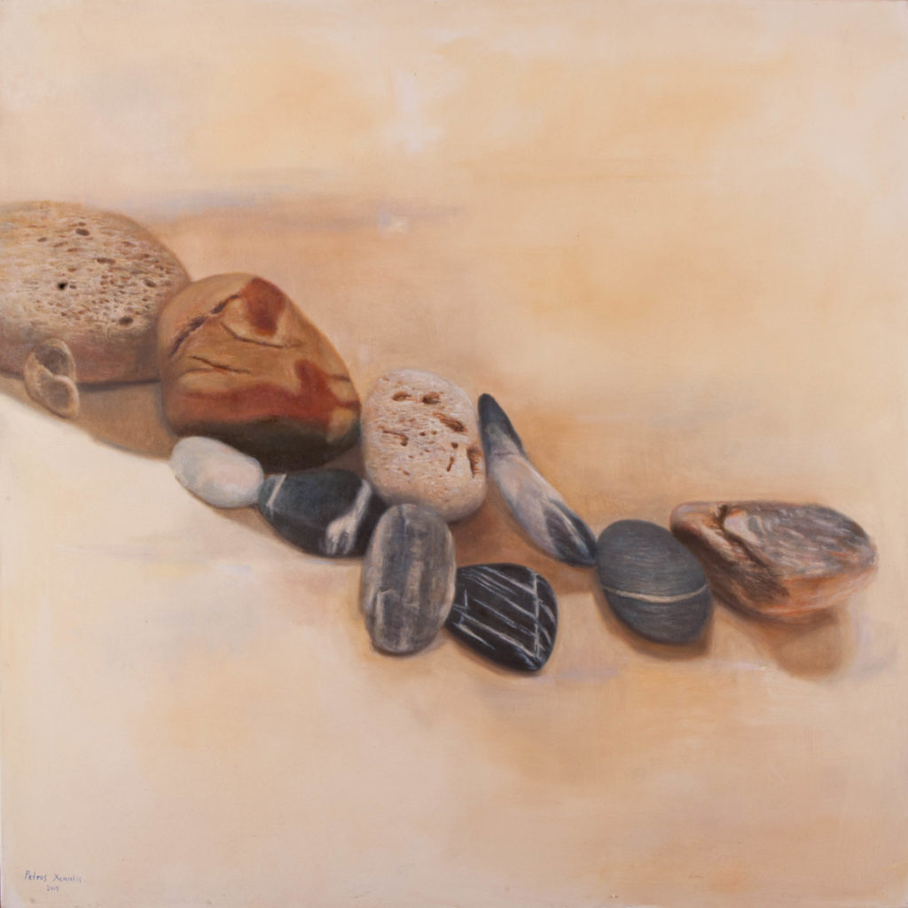 Pebbles, oil on canvas, 130 x 130 cm.